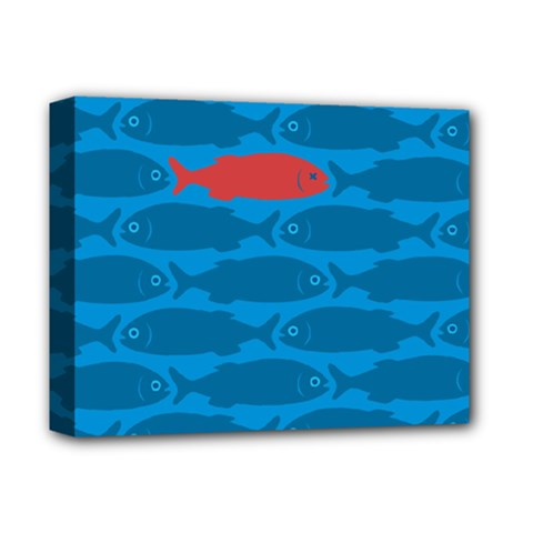 Fish Line Sea Beach Swim Red Blue Deluxe Canvas 14  x 11