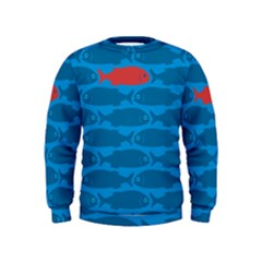Fish Line Sea Beach Swim Red Blue Kids  Sweatshirt