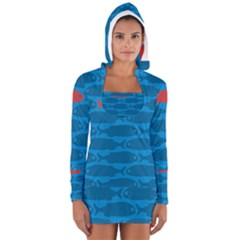 Fish Line Sea Beach Swim Red Blue Women s Long Sleeve Hooded T-shirt