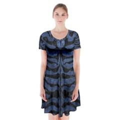 SKN2 BK-MRBL BL-STONE (R) Short Sleeve V-neck Flare Dress