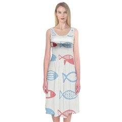 Fish Swim Sea Beach Red Blue White Midi Sleeveless Dress