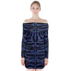 SKN2 BK-MRBL BL-STONE Long Sleeve Off Shoulder Dress