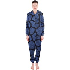 Skin1 Black Marble & Blue Stone Hooded Jumpsuit (ladies)