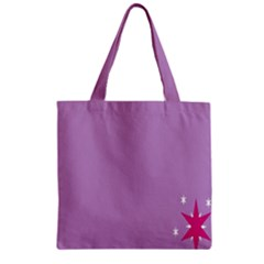 Purple Flagred White Star Zipper Grocery Tote Bag