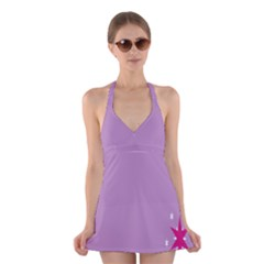 Purple Flagred White Star Halter Swimsuit Dress