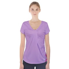Purple Flagred White Star Short Sleeve Front Detail Top