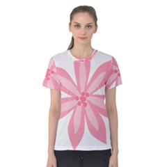Pink Lily Flower Floral Women s Cotton Tee