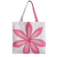 Pink Lily Flower Floral Zipper Grocery Tote Bag