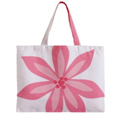 Pink Lily Flower Floral Zipper Mini Tote Bag