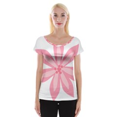 Pink Lily Flower Floral Women s Cap Sleeve Top