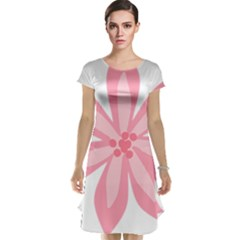 Pink Lily Flower Floral Cap Sleeve Nightdress