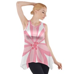 Pink Lily Flower Floral Side Drop Tank Tunic