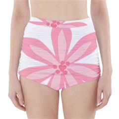 Pink Lily Flower Floral High-Waisted Bikini Bottoms