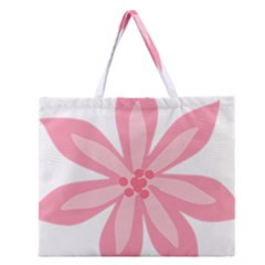 Pink Lily Flower Floral Zipper Large Tote Bag
