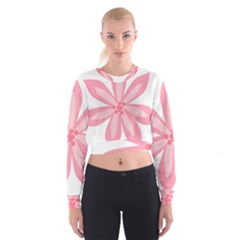 Pink Lily Flower Floral Women s Cropped Sweatshirt