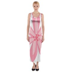 Pink Lily Flower Floral Fitted Maxi Dress
