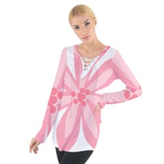 Pink Lily Flower Floral Women s Tie Up Tee