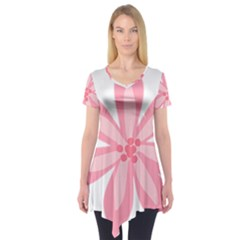 Pink Lily Flower Floral Short Sleeve Tunic