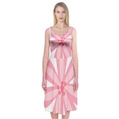 Pink Lily Flower Floral Midi Sleeveless Dress