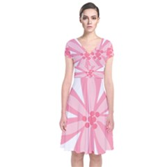 Pink Lily Flower Floral Short Sleeve Front Wrap Dress