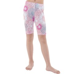 Flower Floral Sunflower Rose Pink Kids  Mid Length Swim Shorts