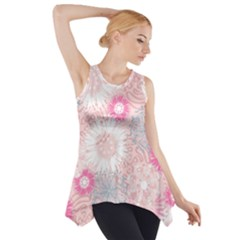 Flower Floral Sunflower Rose Pink Side Drop Tank Tunic