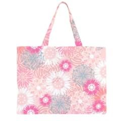 Flower Floral Sunflower Rose Pink Large Tote Bag