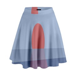 Sunrise Purple Orange Water Waves High Waist Skirt