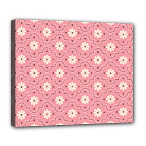 Pink Flower Floral Deluxe Canvas 24  x 20