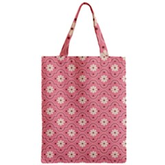 Pink Flower Floral Zipper Classic Tote Bag