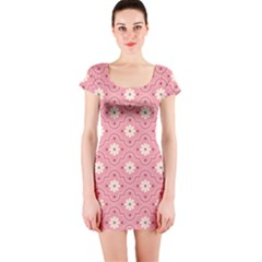 Pink Flower Floral Short Sleeve Bodycon Dress
