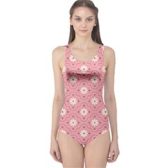 Pink Flower Floral One Piece Swimsuit