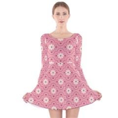 Pink Flower Floral Long Sleeve Velvet Skater Dress