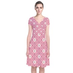 Pink Flower Floral Short Sleeve Front Wrap Dress
