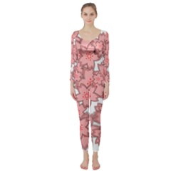 Flower Floral Pink Long Sleeve Catsuit