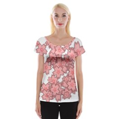 Flower Floral Pink Women s Cap Sleeve Top