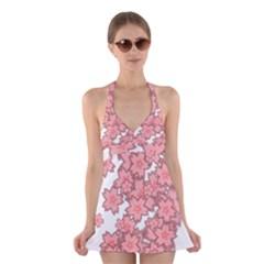 Flower Floral Pink Halter Swimsuit Dress