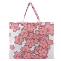 Flower Floral Pink Zipper Large Tote Bag