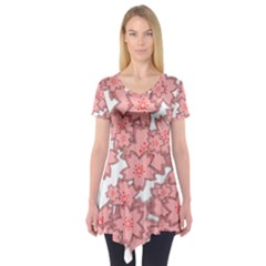 Flower Floral Pink Short Sleeve Tunic