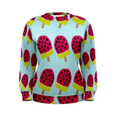 Watermelonn Red Yellow Blue Fruit Ice Women s Sweatshirt