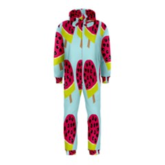 Watermelonn Red Yellow Blue Fruit Ice Hooded Jumpsuit (Kids)