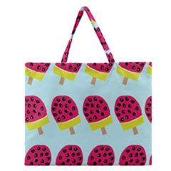 Watermelonn Red Yellow Blue Fruit Ice Zipper Large Tote Bag