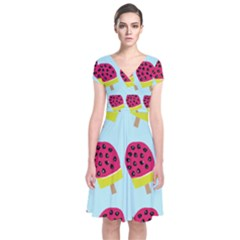 Watermelonn Red Yellow Blue Fruit Ice Short Sleeve Front Wrap Dress