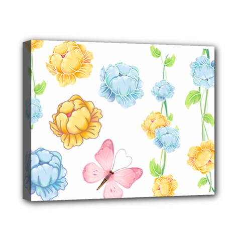 Rose Flower Floral Blue Yellow Gold Butterfly Animals Pink Canvas 10  x 8