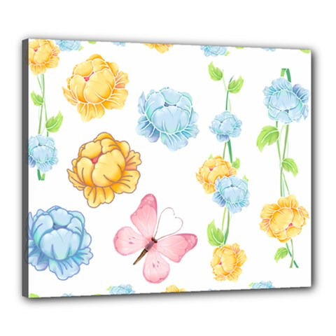 Rose Flower Floral Blue Yellow Gold Butterfly Animals Pink Canvas 24  x 20