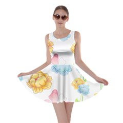 Rose Flower Floral Blue Yellow Gold Butterfly Animals Pink Skater Dress