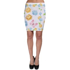 Rose Flower Floral Blue Yellow Gold Butterfly Animals Pink Bodycon Skirt