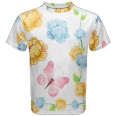 Rose Flower Floral Blue Yellow Gold Butterfly Animals Pink Men s Cotton Tee