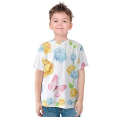 Rose Flower Floral Blue Yellow Gold Butterfly Animals Pink Kids  Cotton Tee