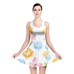 Rose Flower Floral Blue Yellow Gold Butterfly Animals Pink Reversible Skater Dress